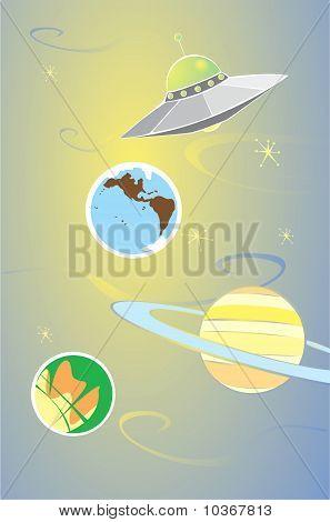 Постер, плакат: Планеты и чужеродных, холст на подрамнике