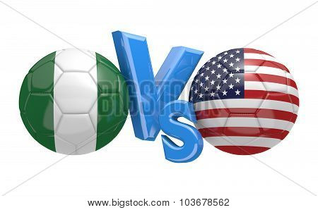 Soccer versus match between national teams Nigeria and United States