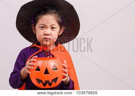 Little Girl In Halloween Costume On White / Little Girl In Halloween Costume / Little Girl In Hallow