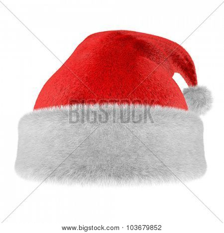 Christmas fur hat isolated on white background.