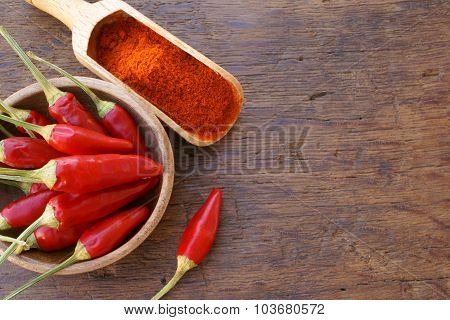 Chili Pepper Pods And Chili Powder