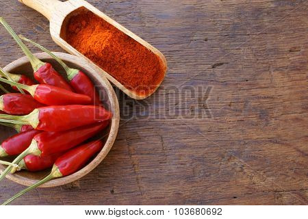 Fresh Chili Pods And Chili Powder