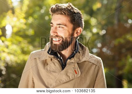 Smiling Handsome Young Man Outdoor.