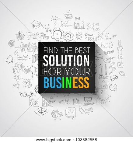 Best Solution for Your Business Slogan over a squared flat panel with soft shadow over an hand drawn doodles skeches collection of symbols, graphs, maths, infographics ans so on.
