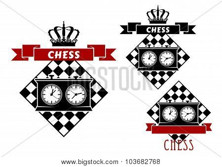 Chess symbols with clocks on chessboard