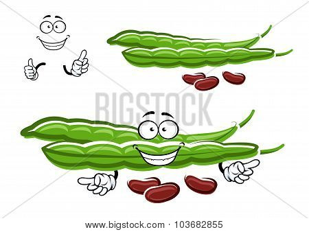 Cartoon bean pods with brown beans
