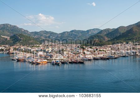 Aerial view of Marmaris in Turkey on a sunny morning.