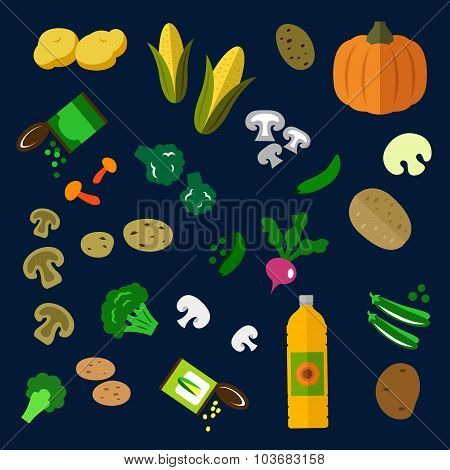 Flat fresh and canned vegetables icons