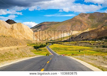 The road among beautiful landscape in Tibet, China