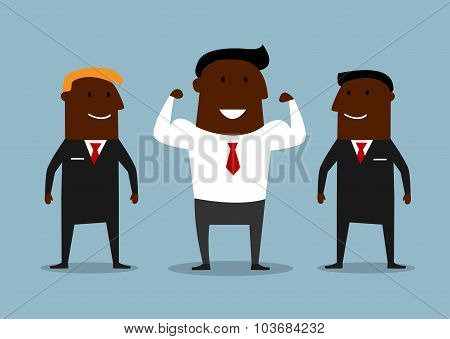 Cartoon happy businessman with bodyguards