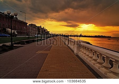 Volga River Embankment At Sunset