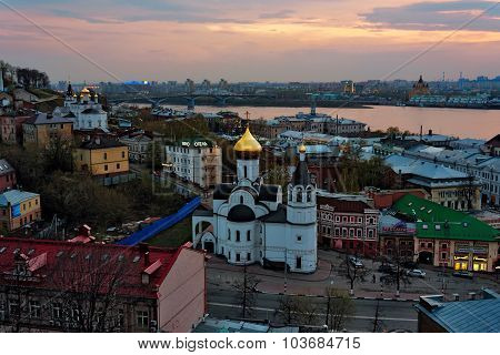 View Of Center Nizhny Novgorod At Sunset
