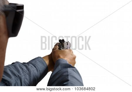 Man Aiming and Shooting Semi Automatic Handgun