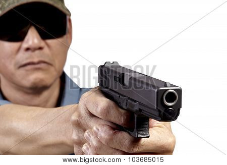 Man Aiming Handgun on White Background