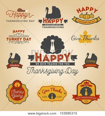 Set Of Thanksgiving Day Labels.