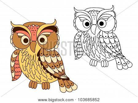 Cartoon owl bird in pastel colors