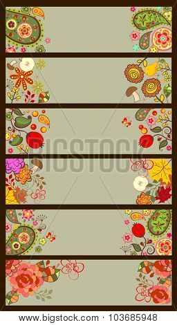 Horizontal decorative autumnal and summery banners