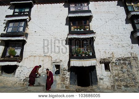 Monks in Tashilhunpo monastery in Shigatse, Tibet.