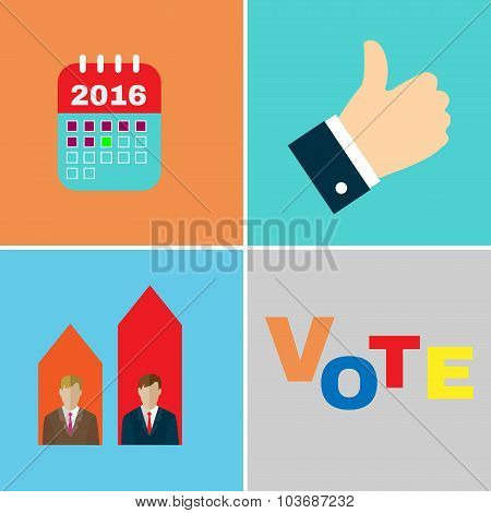 Presidential Elections 2016 Icon Set