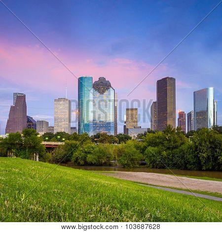 Houston Texas  Skyline At Sunset Twilight From Park Lawn