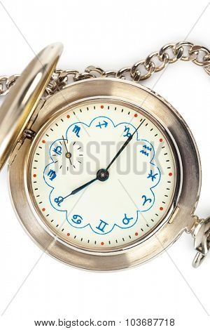 Retro watch with horoscope isolated on white background