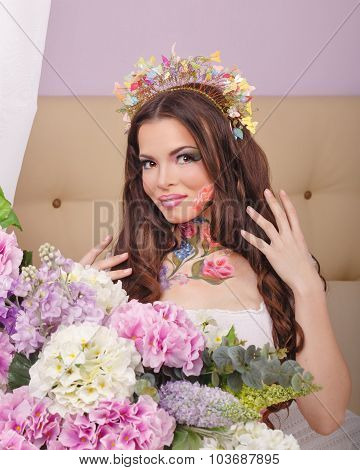Floristry Girl With Face Art.