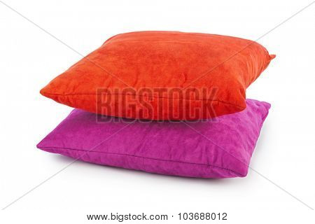 Decorative pillows isolated on white background