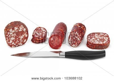 Sliced sausage and knife isolated on white background