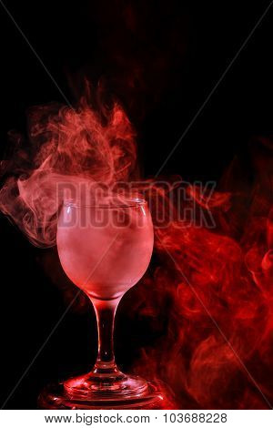 Red Smoke In The Glass. Halloween.