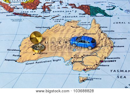 Australia map and compass - travel background