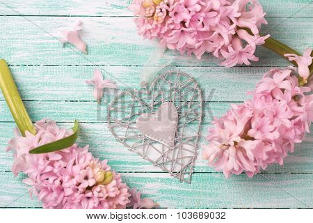 Decorative Heart  And Flowers On Wooden Background