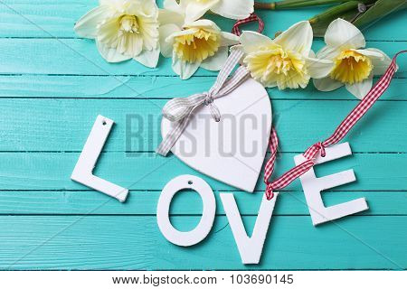 Word Love, Heart And Flowers
