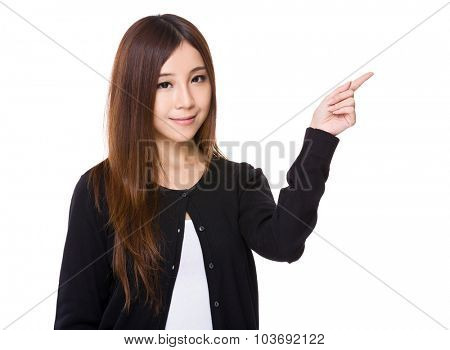 Asian woman with finger point up