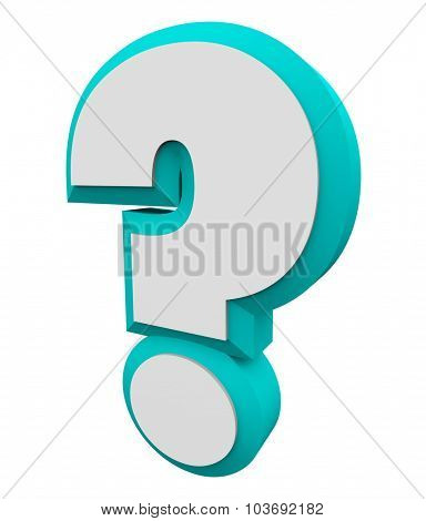 3d question mark blue character for asking an iquiry, getting and finding answers or information