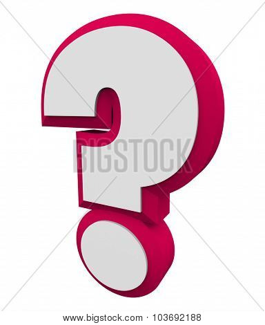 3d question mark red character for asking an iquiry, getting and finding answers or information
