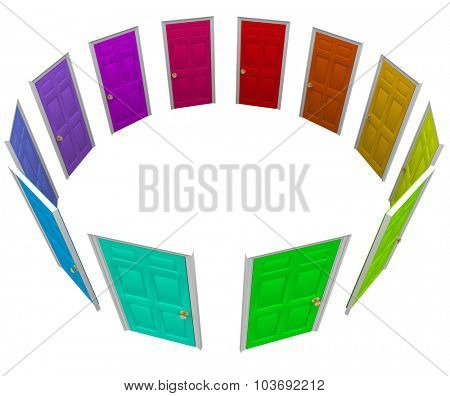 Many colorful doors in a ring or circle to illustrate new opportunities, paths, choices, and options in life, job or career