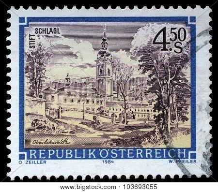 AUSTRIA - CIRCA 1984: a stamp printed in the Austria shows Schlagl Monastery, Upper Austria, circa 1984