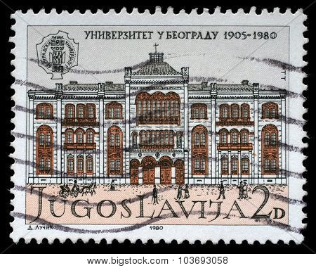 YUGOSLAVIA - CIRCA 1980: a stamp printed in Yugoslavia shows The 75th Anniversary of the University of Belgrade, circa 1980.
