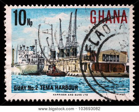GHANA - CIRCA 1967: a stamp printed in Ghana shows Tema Harbour, National Symbols, circa 1967.