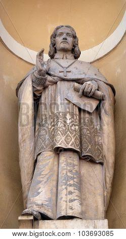 LJUBLJANA, SLOVENIA - JUNE 30: Sigismund von Lamberg, first bishop of Ljubljana on the facade of St Nicholas Cathedral in the capital city of Ljubljana, Slovenia on June 30, 2015