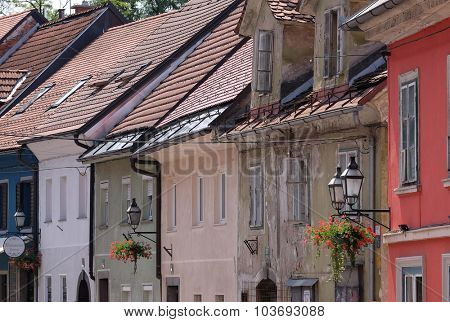 LJUBLJANA, SLOVENIA - JUNE 30, 2015: Romantic medieval Old city centre. Ljubljana - cultural, educational, economic, political and administrative center of Slovenia