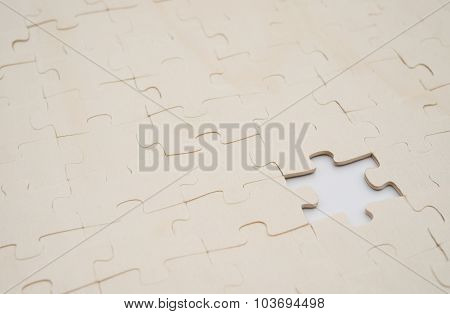 Jigsaw Puzzle With One Piece Missed On White Background