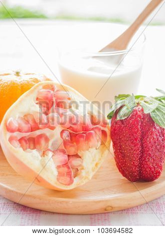 Glass Of Yogurt With Fresh Mix Fruit
