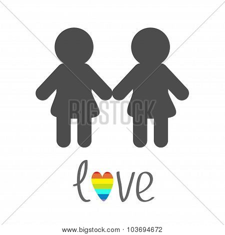 Gay Marriage Pride Symbol Two Woman Silhouette Lgbt Icon Rainbow Heart Love Flat Design