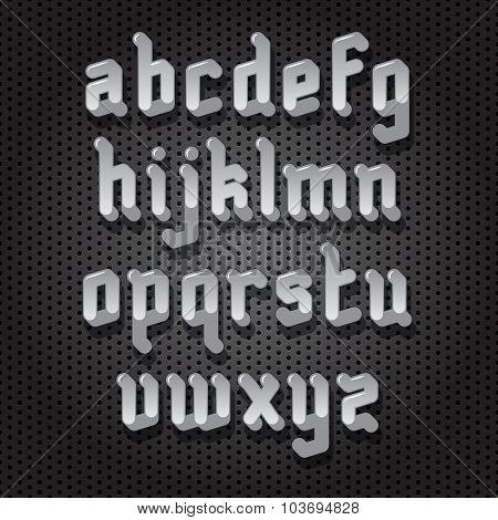 Modern Gothic Style Font with shadow on perforated background