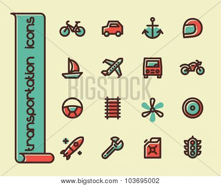 Fat Line Icon set for web and mobile. Modern minimalistic flat design elements of transportation, parts of vehicles and traffic management