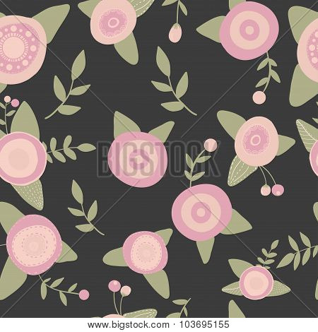 Hand drawn seamless pink flowers pattern doodle