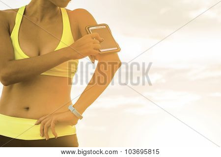 Young woman jogging during outdoor in park.