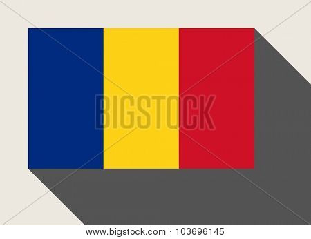 Romania flag in flat web design style.