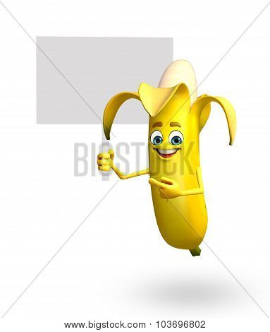 Cartoon Character Of Banana Fruit With Sign